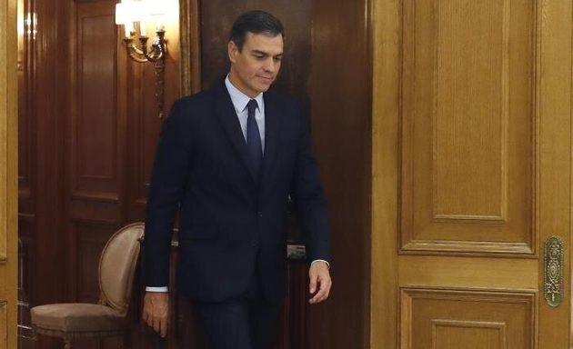 Pedro Sánchez, este lunes a su llegada al Palacio de la