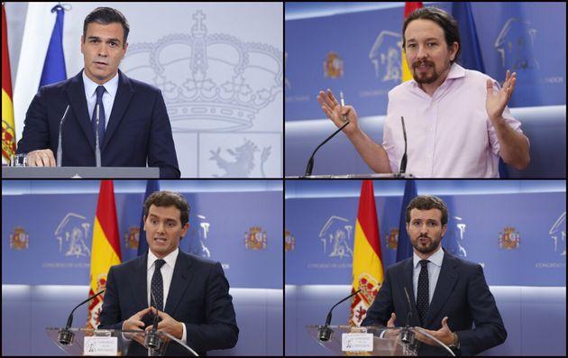 Sánchez, Iglesias, Rivera y Casado, en sus comparecencias de este