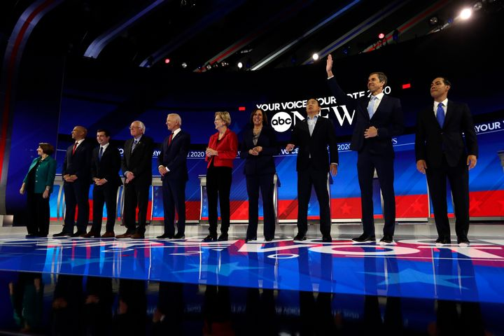 Democratic presidential candidates are introduced for the Democratic presidential primary debate hosted by ABC on the campus