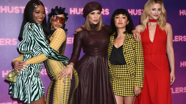"Keke Palmer, Cardi B, Jennifer Lopez, Constance Wu, and Lili Reinhart arrive at a photo call for ""Hustlers"" at The Four Seasons on Sunday, August 25, 2019 in Beverly Hills, Calif . (Photo by Jordan Strauss/Invision/AP)"