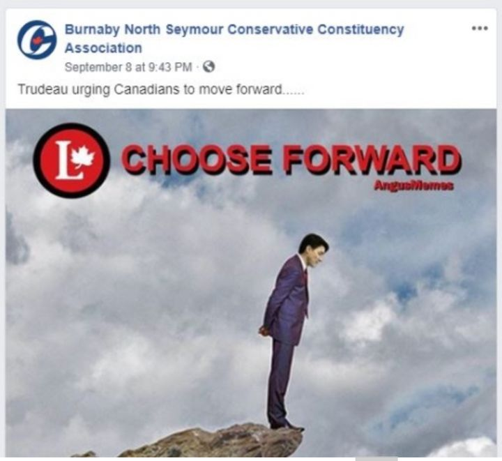 A screenshot from the Burnaby North Seymour Conservative Constituency Association Facebook page of a meme shared showing Justin Trudeau on the edge of a cliff.