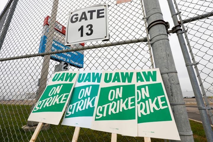 United Auto Workers strike signs are shown at a gate at the General Motors Flint Assembly Plant in Michigan after the UAW dec