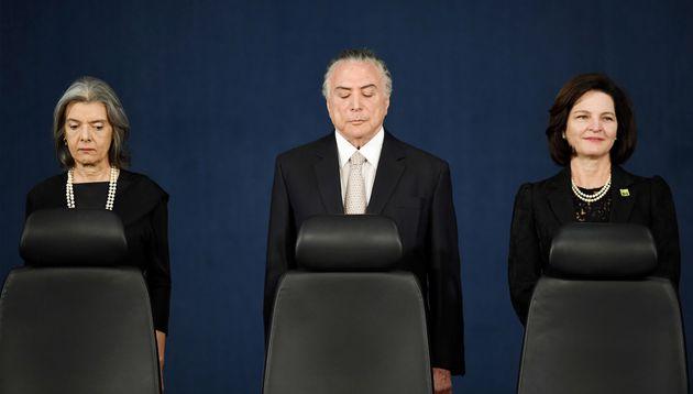 Cármen Lúcia, atual ministra do STF, o ex-presidente Michel Temer, e a procuradora-geral da República, Raquel Dodge, que foi nomeada por Temer.