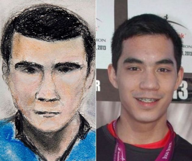 A composite featuring a courtroom sketch and supplied photo of Calgary mass killer Matthew de
