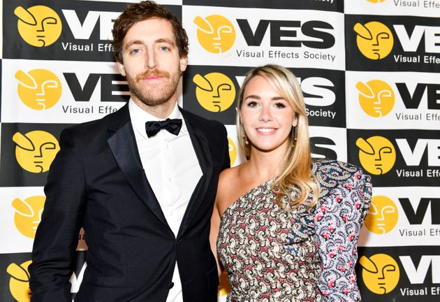 Actor Thomas Middleditch with wife Mollie, a costume
