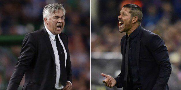 레알 마드리드의 안첼로티 감독(왼쪽)과 아틀레티코 마드리드의 시메오네