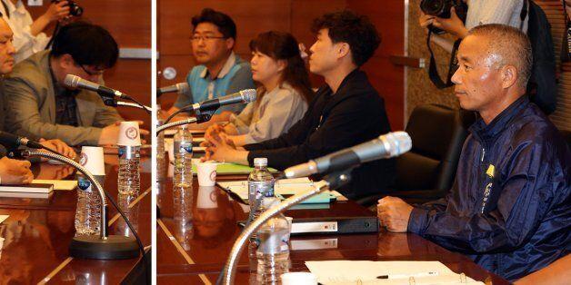 28일 서울 건설회관에서 열린 삼성 직업병 피해 노동자들의 문제 해결을 위한 대화에 삼성전자 측(왼쪽)과 반올림 측 관계자들이 착석해