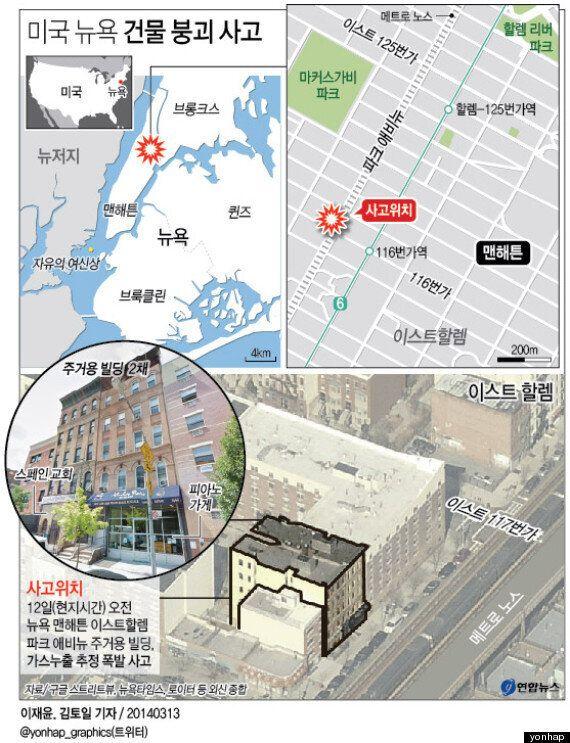 美맨해튼 빌딩2채 폭발붕괴 3명