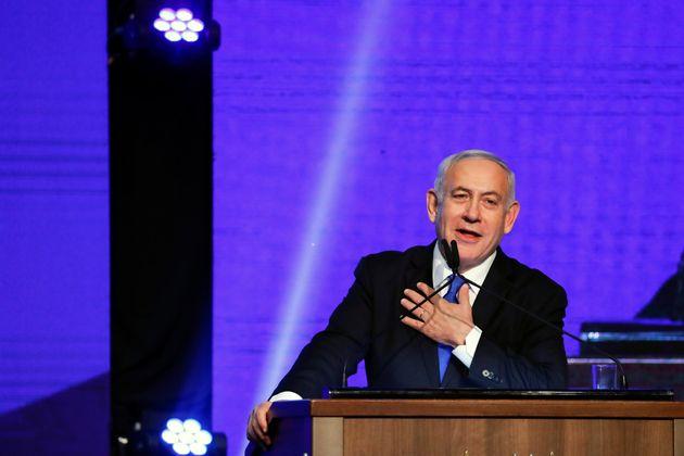 """Benjamin Netanyahu plaide pour un """"gouvernement sioniste fort"""", devant ses supporters du..."""