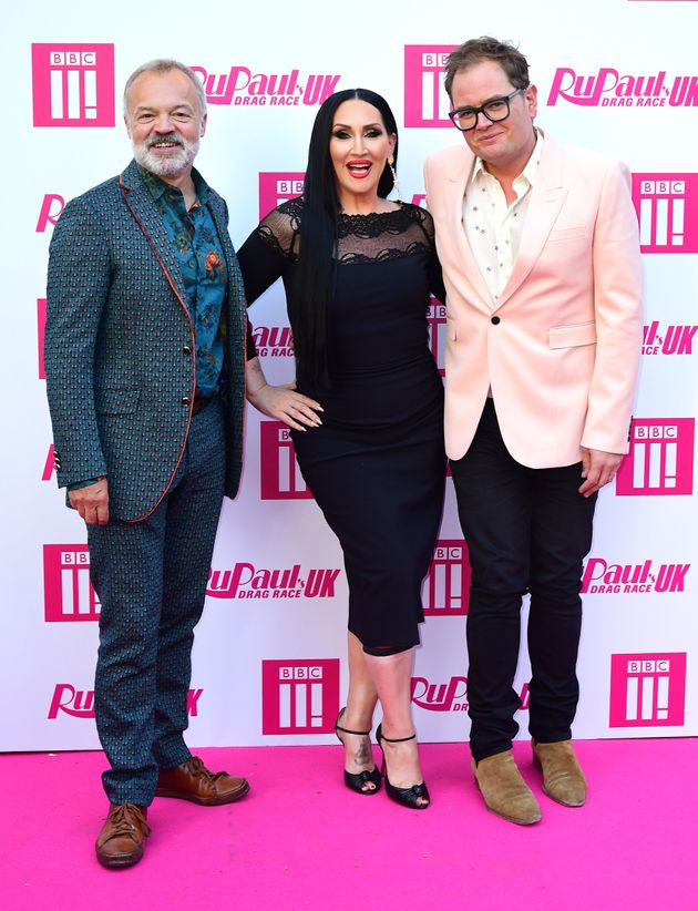 Graham Norton, Michelle Visage and Alan Carr attending the RuPaul Drag race premiere, Bloomsbury Ballroom,...