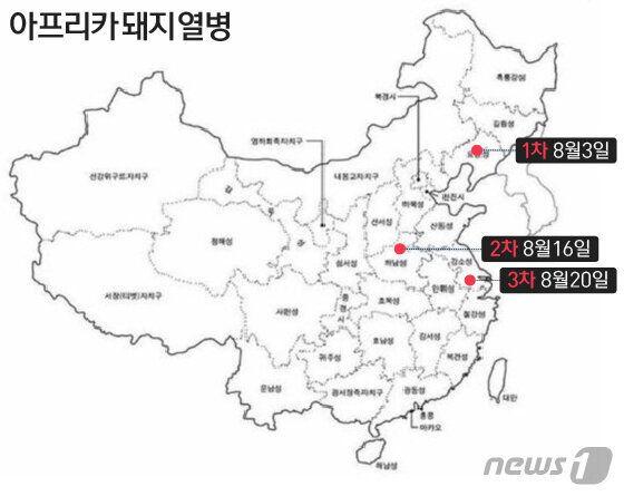 중국에서 아프리카돼지열병이 발견되지 한달도 안 되는 기간 동안 동부 전역에 걸쳐 확산되는 양상을