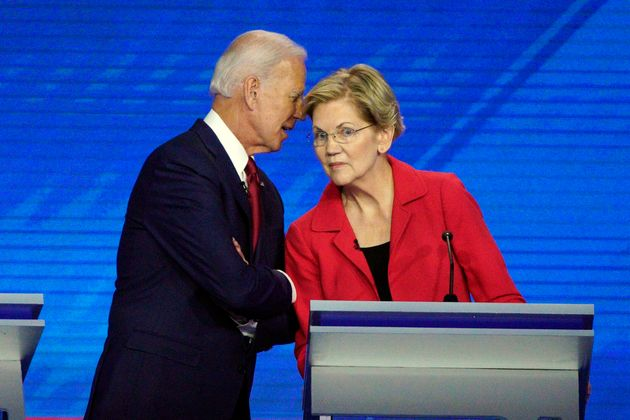 Democratic presidential candidates former Vice President Joe Biden, left, and Sen. Elizabeth Warren,...