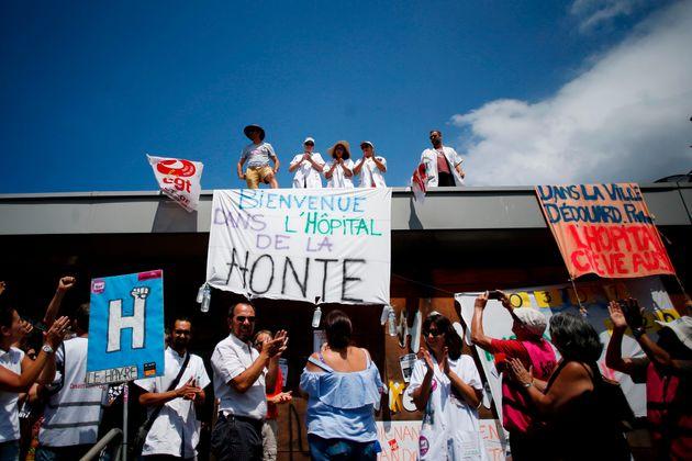 Manifestation à l'hôpital psychiatrique du Havre en juillet