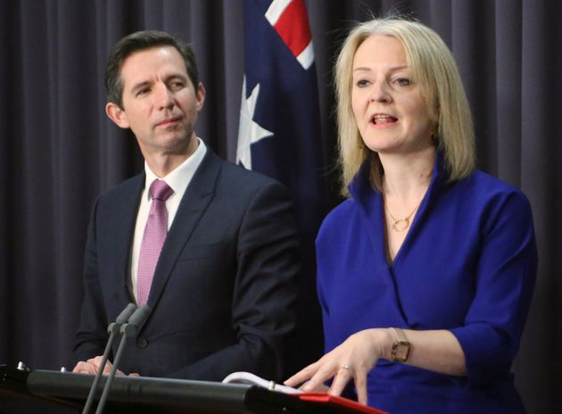 Australian Trade Minister Simon Birmingham, left, and British International Trade Secretary Liz Truss...