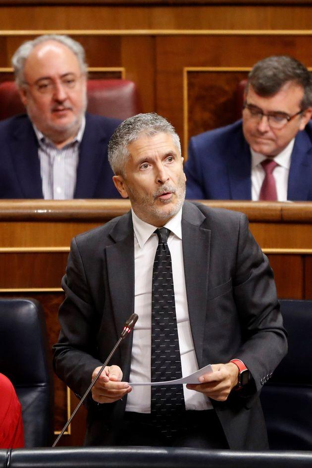 El ministro del Interior en funciones, Fernando Grande-Marlaska, durante su intervención en la segunda...
