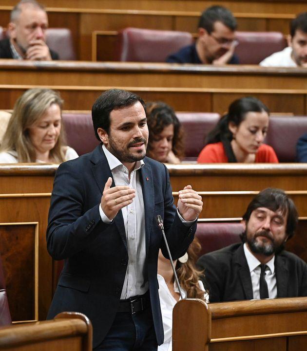 El diputado de Unidas Podemos Alberto Garzón interviene en la segunda y última sesión de