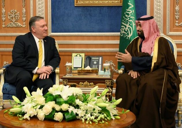 US Secretary of State Mike Pompeo (left), pictured with Mohammed bin Salman in January 2019, is due to...