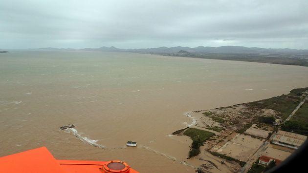 Vistas aéreas de la zona del Mar Menor, afectada por las fuertes lluvias de los últimos