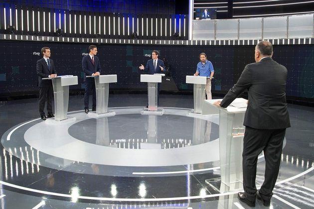 Los cuatro aspirantes a la presidencia del Gobierno, durante el debate el pasado