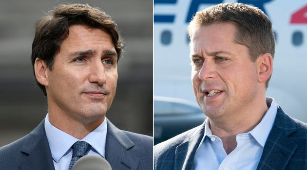 Liberal Leader Justin Trudeau, left, and Conservative Leader Andrew Scheer are leading parties that are...