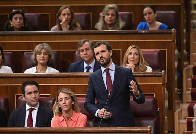 El líder del PP, Pablo Casado, durante su intervención este miércoles en el