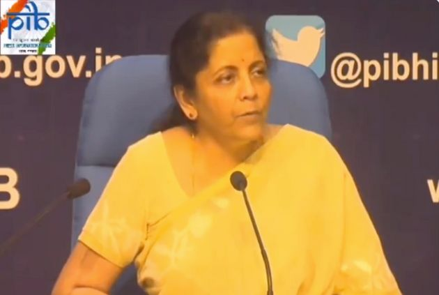 Nirmala Sitharaman during the press conference announcing the ban on