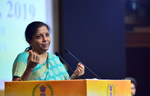 GHAZIABAD, INDIA JULY 23, 2019: Union Minister of Finance Nirmala Sitharaman speaking at the Income Tax...