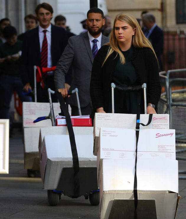Court documents arriving at the Supreme Court on