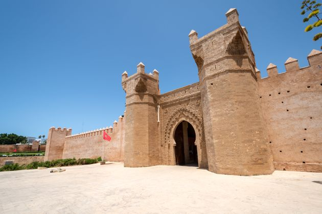 Entrance gate to ancient necropolis and Roman settlement of Chellah on the outskirts of Rabat,
