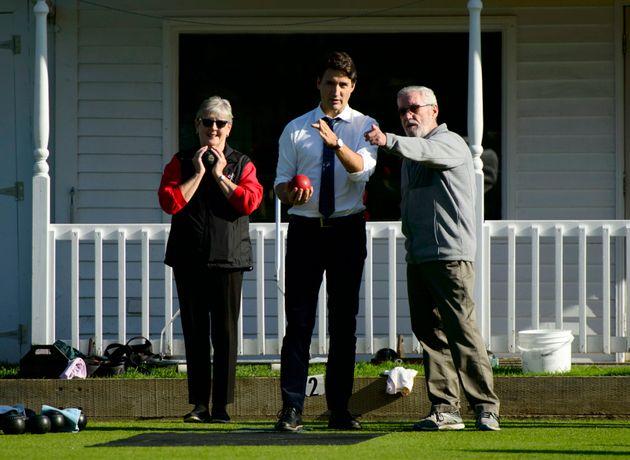 Le chef libéral Justin Trudeau a fait son annonce dans un club de boulingrin de Fredericton, au