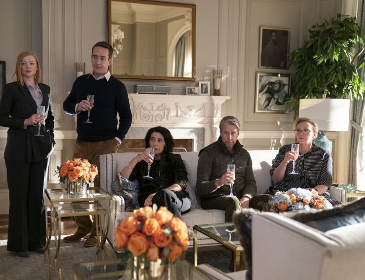 """Oh cool, I have to somehow notice the nuanced facial expressions of Sarah Snook, Matthew Macfadyen, Hiam Abbass, Alan Ruck and J. Smith-Cameron all reacting differently to what's supposed to be a moment of good news in """"Succession."""""""