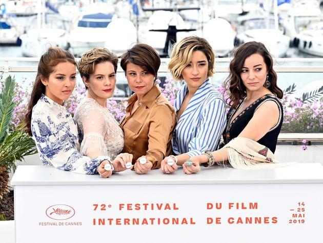 CANNES, FRANCE - MAY 17: (L to R) Actress Lyna Khoudri, actress Zahra Doumandji, Director Mounia Meddour,...