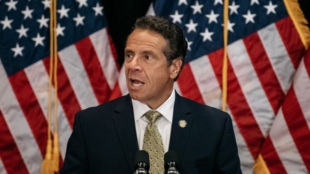 NEW YORK, NY - JULY 18: New York Governor Andrew Cuomo delivers a speech on the importance of renewable energy and signs the Climate Leadership and Community Protection Act at Fordham Law School in the borough of Manhattan on July 18, 2019 in New York City. Framed by Governor Cuomo as a statewide Green New Deal, the act commits New York state to expand offshore wind power, 100 percent carbon-free electricity by 2040, and mandates that 40 percent of the state's clean energy spending go towards disadvantaged communities. (Photo by Scott Heins/Getty Images)