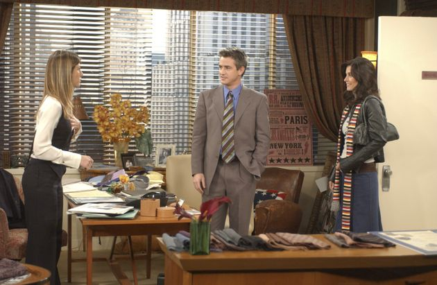 Rachel Green on her first day back to work from maternity leave alongside Gavin, and Monica