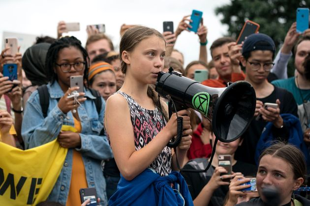Swedish climate activist Greta Thunberg during a strike outside the White House on Sept. 13, 2019 in...