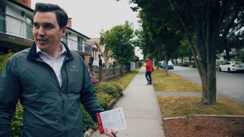 Terry Beech, the Liberal candidate in Burnaby North-Seymour, is shown canvassing in Burnaby