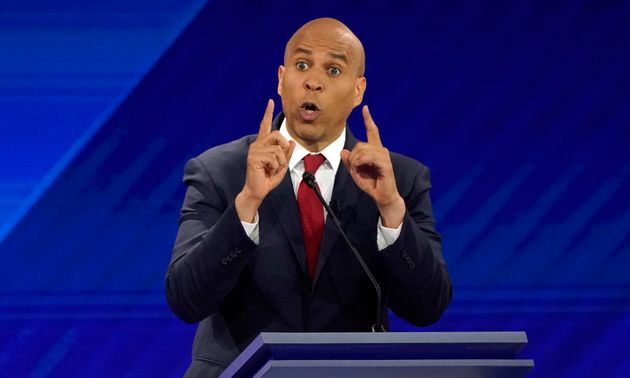 Senator Cory Booker speaks during the 2020 Democratic U.S. presidential debate in Houston, Texas, U.S....