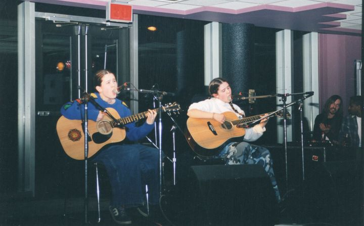 Tegan and Sara Quin performing together when they were still in high school.