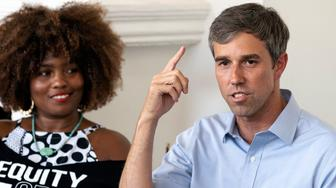 Democratic presidential candidate former Texas congressman Beto O'Rourke (R) speaks during an Equity & Justice Roundtable in Los Angeles, California on September 17, 2019. This was Betos fourth trip to California as a presidential candidate. (Photo by Ronen Tivony/NurPhoto via Getty Images)