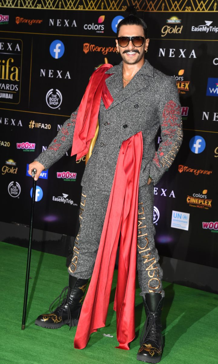 Ranveer Singh in a suit by Moschino at the 2019 IIFA Awards in Mumbai. He won best actor in a leading role (male) for <i>Padmaavat</i>.