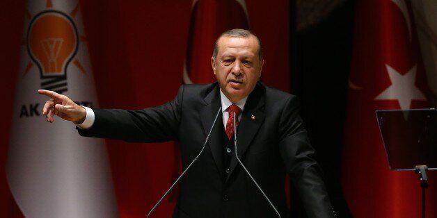 ANKARA, TURKEY - NOVEMBER 17 : Turkish President Recep Tayyip Erdogan speaks during the Justice and Development...