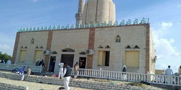 View of the Rawda mosque, roughly 40 kilometres west of the North Sinai capital of El-Arish, after a...