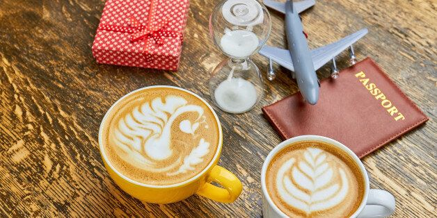 Coffee, present and hourglass. Passport and toy plane. How to get visa