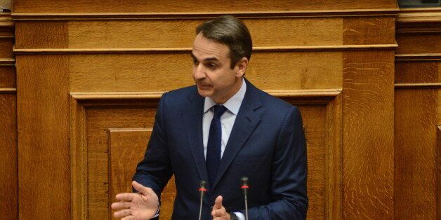 HELLENIC PARLIAMENT, ATHENS, ATTIKI, GREECE - 2017/11/03: Kyriakos Mitsotakis leader of the main opposition...
