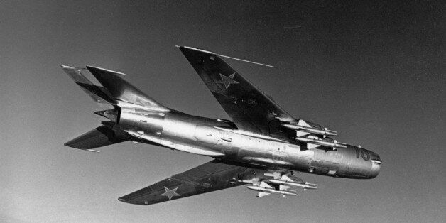 A soviet mikoyan-gurevich mig-19 'farmer' jet fighter in flight, 1960s. (Photo by: Sovfoto/UIG via Getty