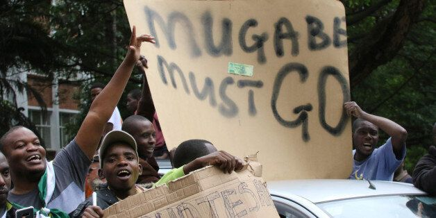 Protesters calling for Zimbabwean President Robert Mugabe to step down take to the streets in Harare,...