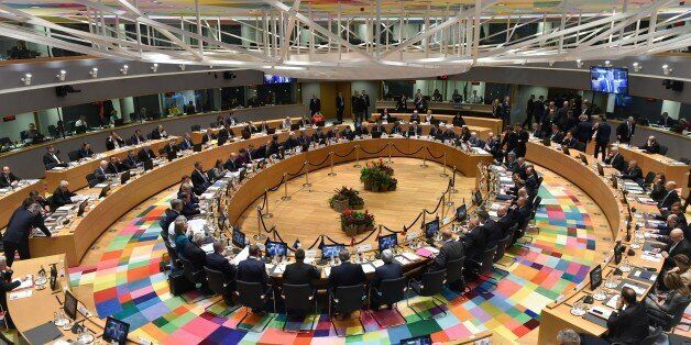A general view shows political leaders sitting at the round table for an ?EU Eastern Partnership summit...