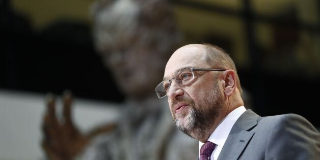 Leader of the Social Democratic Party (SPD), Martin Schulz, addresses a press conference in Berlin on...