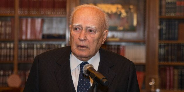The old President Karolos Papoulias during Inauguration Ceremony of the new President of the Hellenic...