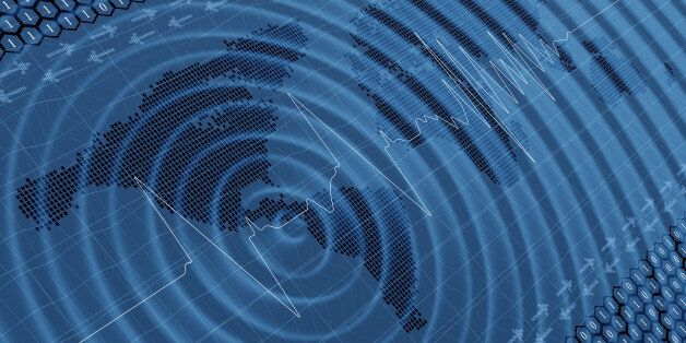 Earthquake impact wave and seismic activity digital 3d